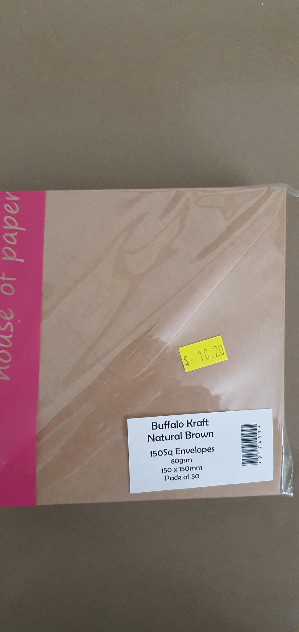 House of Paper Buffalo Kraft Natural Brown Envelopes 150sq 50pk