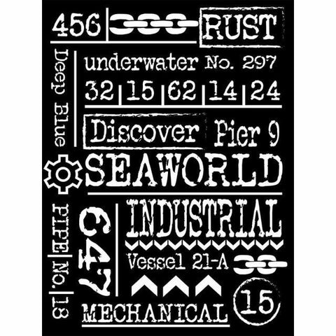 Mechanical Seaword Stencil - Stamperia