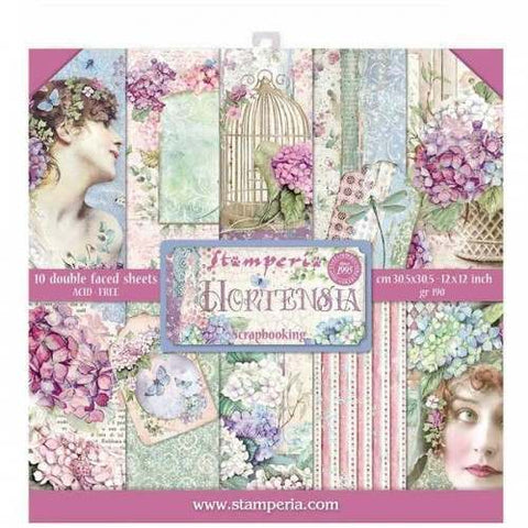 12 x 12 Paperpack STAMPERIA - Hortensia