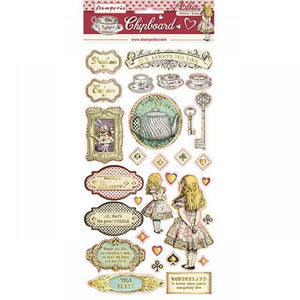 Chipboard STAMPERIA - Alice Gold 30pc