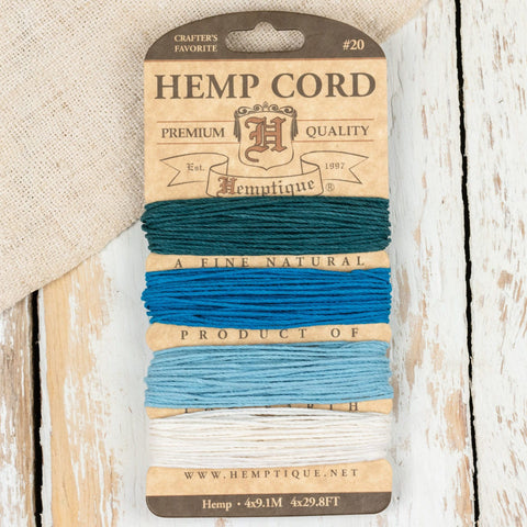 HEMP CORD  - 4 Colour 4 x 9.1M Aquamarine