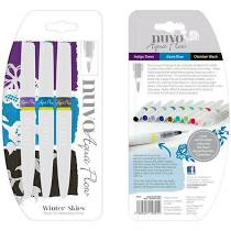 NUVO Aqua  Flow Brush Tip Water Pens -Winter Skies 3pk