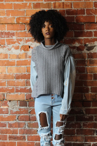 Denim Sleeve Sweater