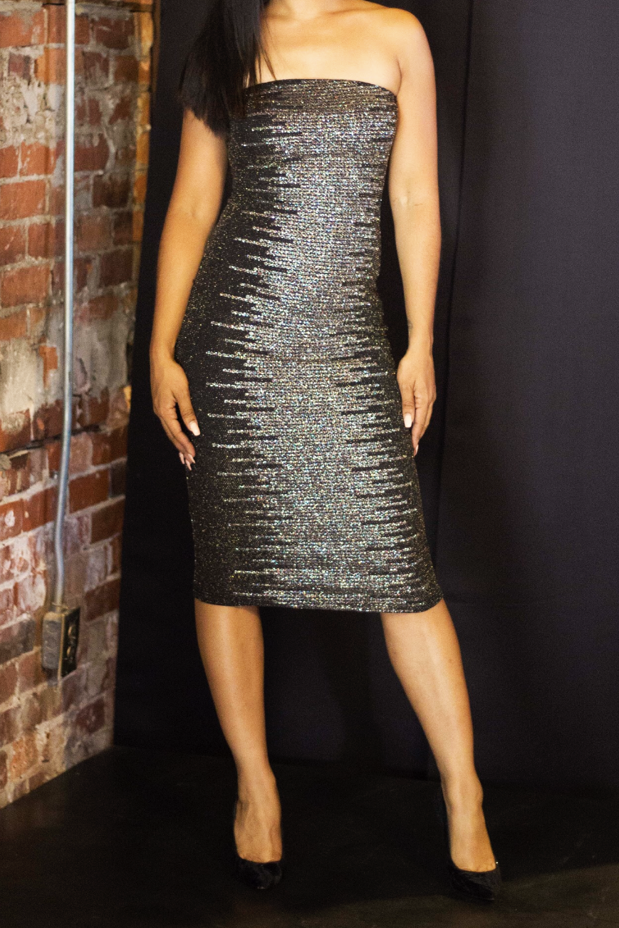FeFe Strapless Glitter Dress