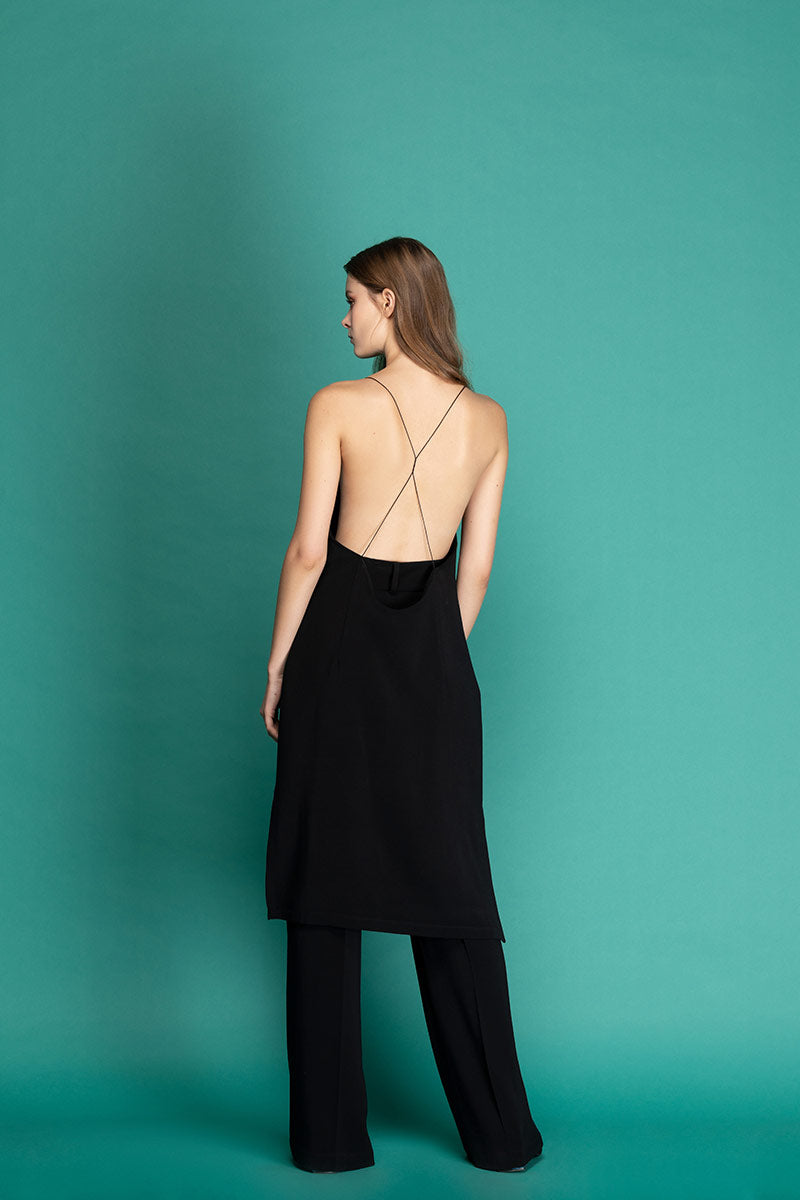 ALEXA Open Back Midi Dress - Black