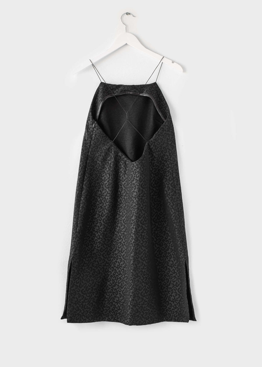 ALEXA Open Back Midi Dress - Black Leopard