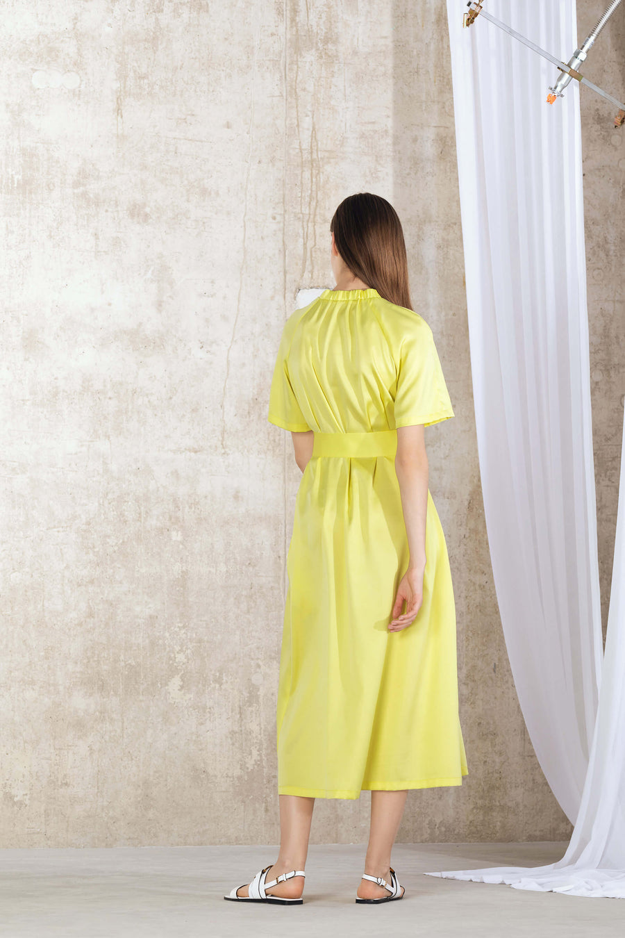 ANITA Belted Midi Dress - Yellow