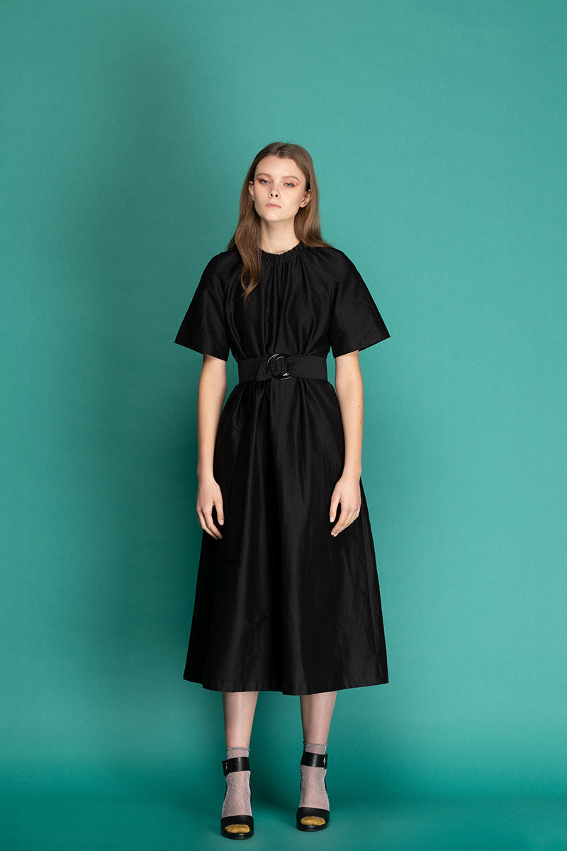ANITA Belted Cotton Midi Dress - Black