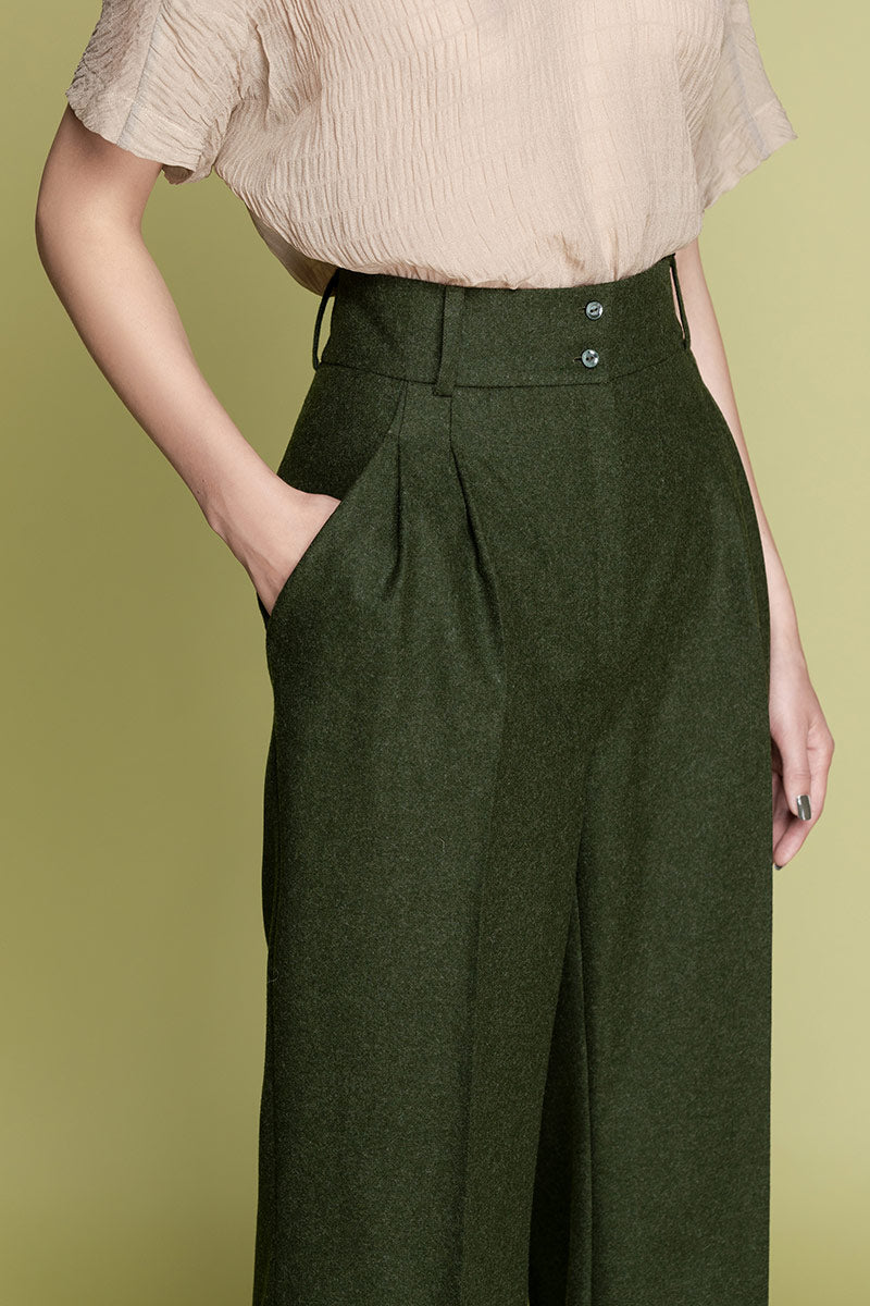 ELISE Woolen Highwaisted Wide Trousers - Green