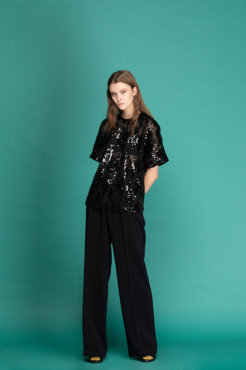 ELISE Highwaisted Wide Trousers - Black