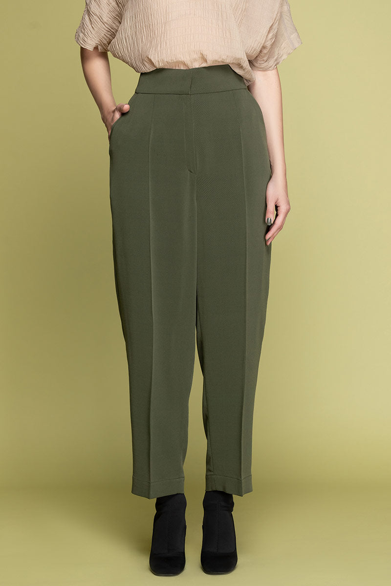 EVA Highwaisted Wool Blend Trousers - Green