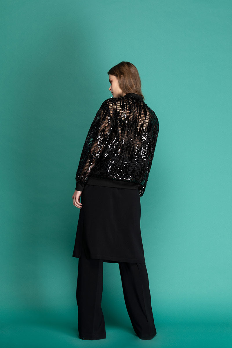 FLINT Sequin Bomber- Black