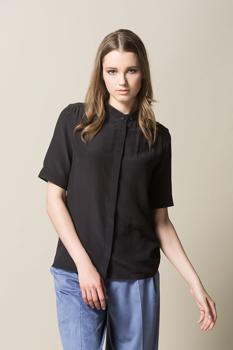 GAMMY Button Up Silk Shirt - Washed Black