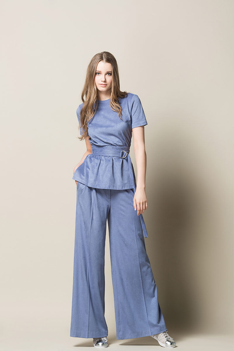EDEL Highwaisted Wide Leg Trousers - Light Blue