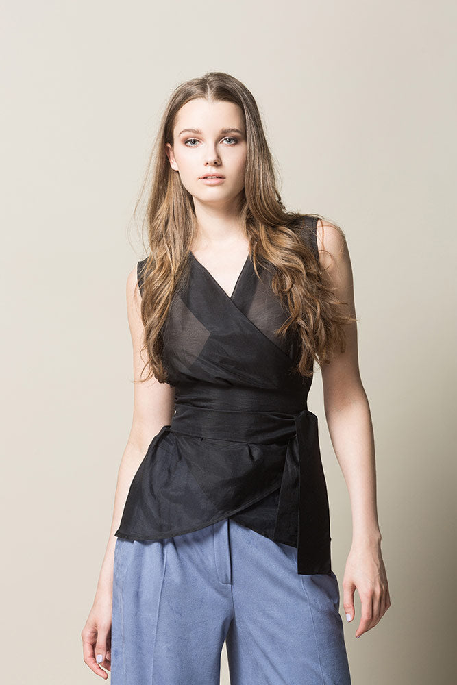 INKERI Sheer Silk Wrap Blouse - Black