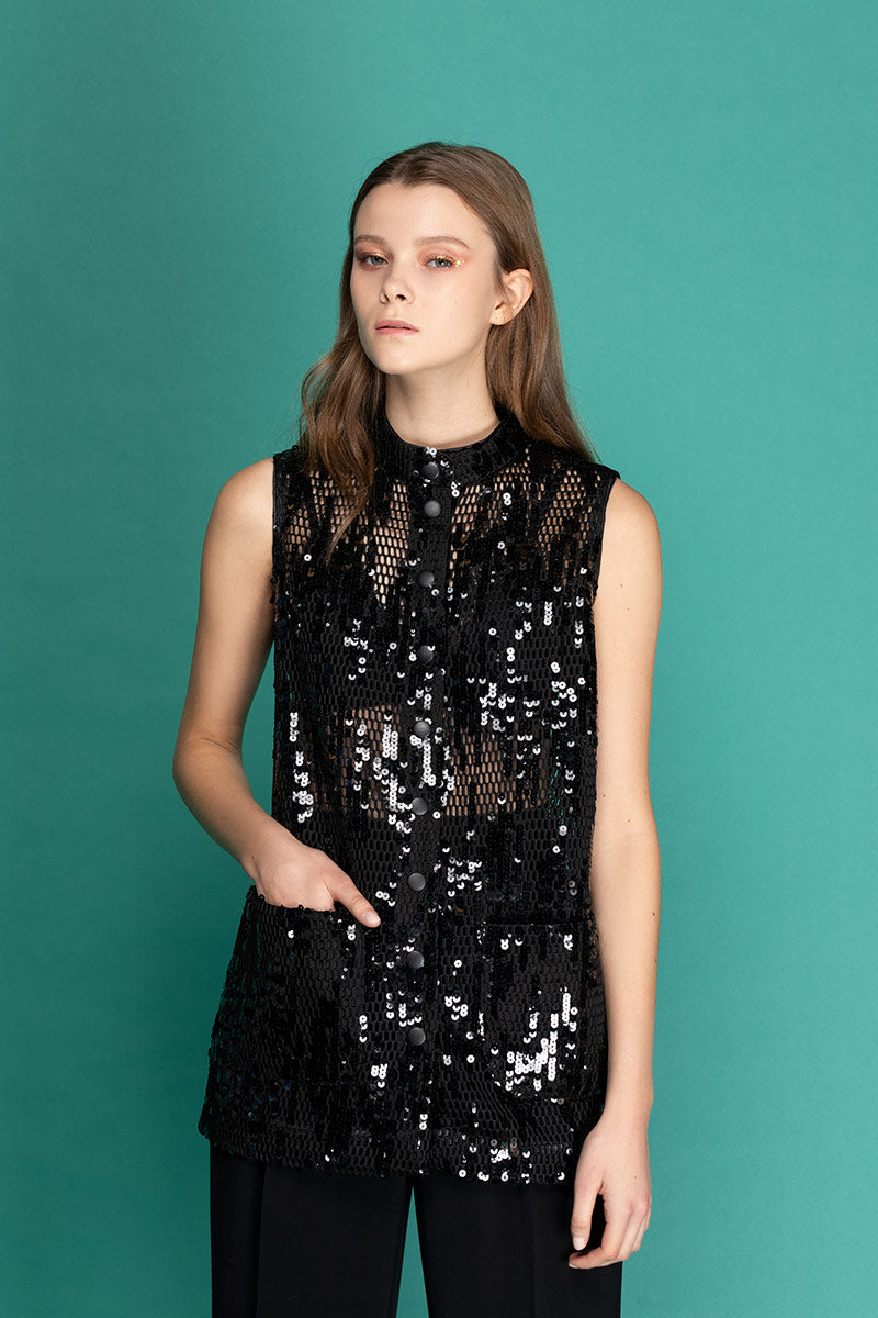 JESS Sequin Band Collar Vest - Black