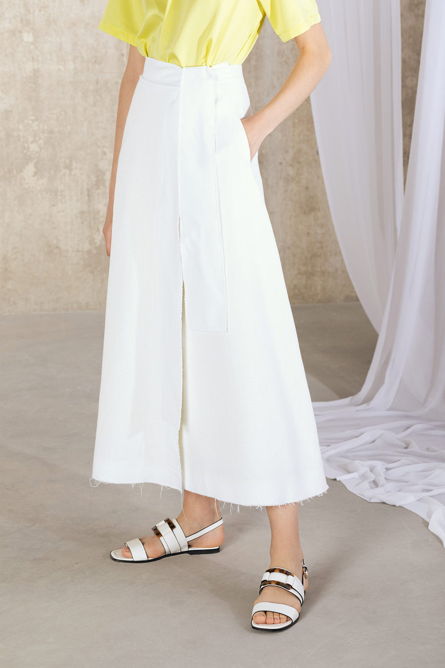 KARA Raw Edge Wrap Skirt - White