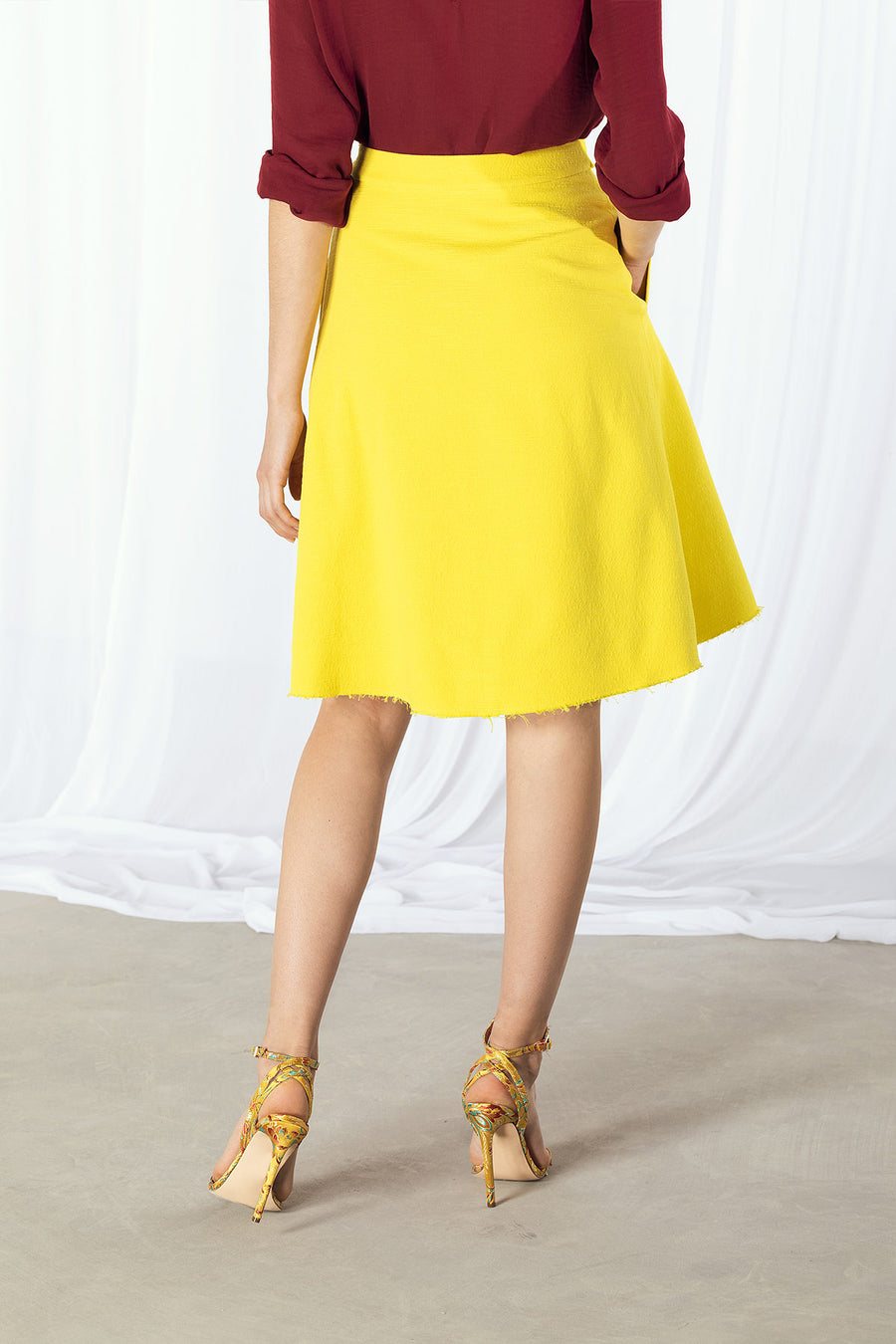 KARA Raw Edge Wrap Skirt - Yellow