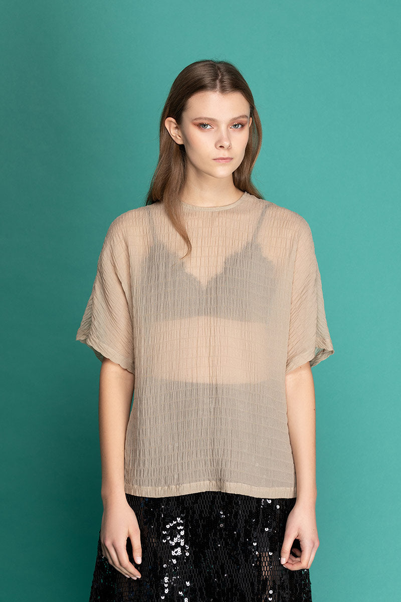 KITT Sheer Silk Raglan Blouse - Nude