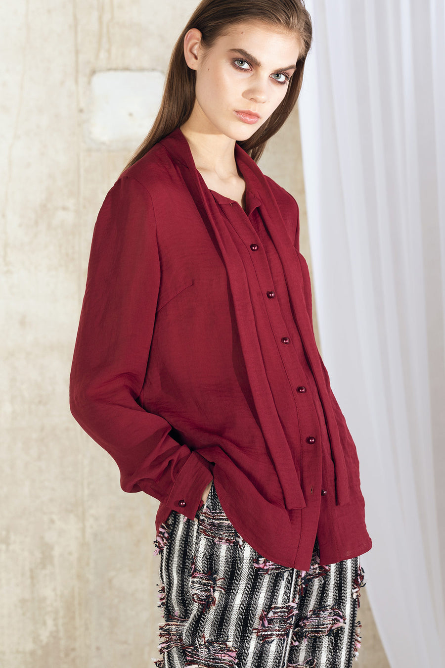 LOVA Viscose Cut Out Blouse - Burgundy