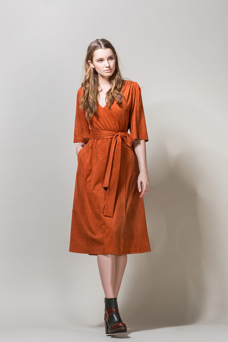 AGNES Belted Wrap Midi Dress - Brick Orange