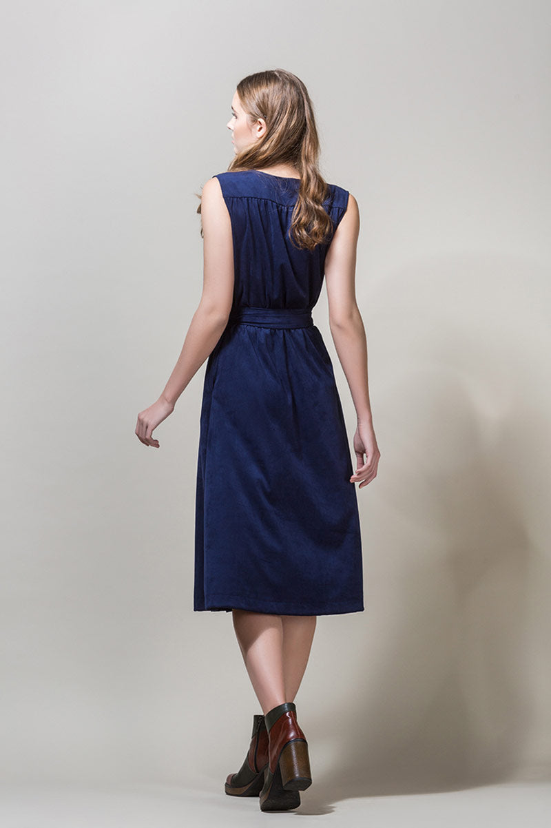 AGNE Belted Wrap Midi Dress - Navy