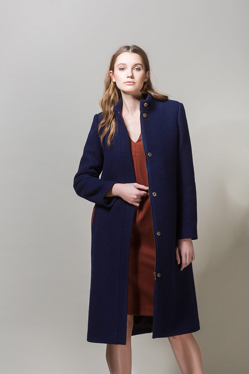 BETA Heavy Wool Straight Coat - Navy