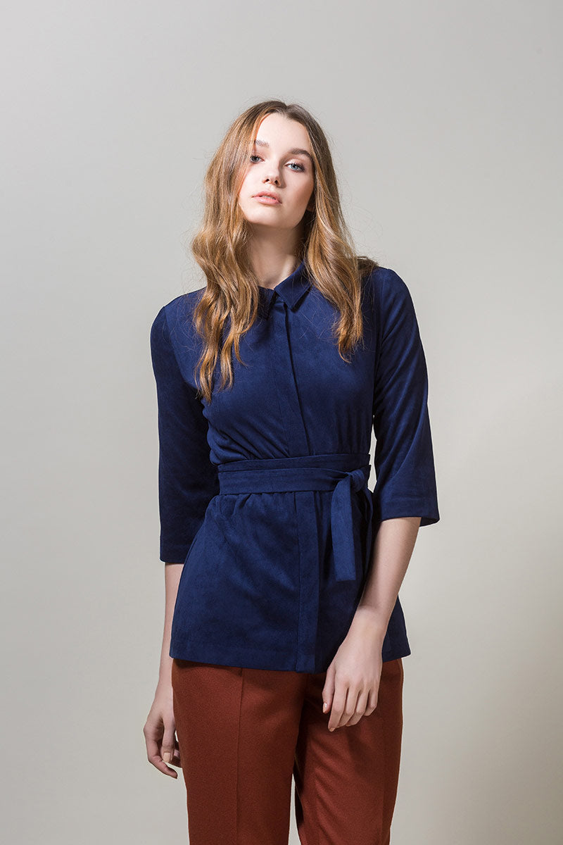 GIRA Button Up Belted Shirt - Navy