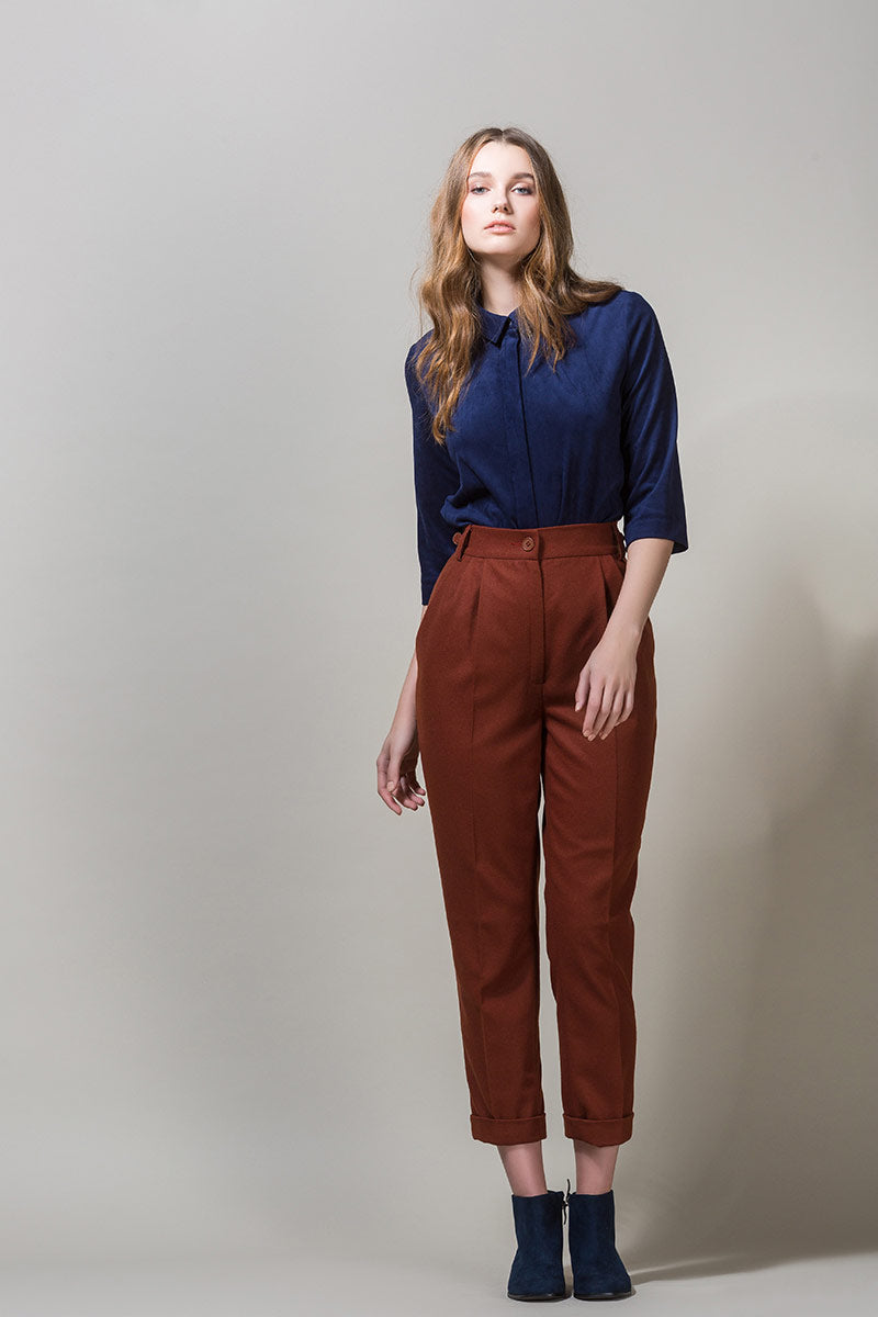 ELLY Woolen Highwaisted Trousers - Brick Brown