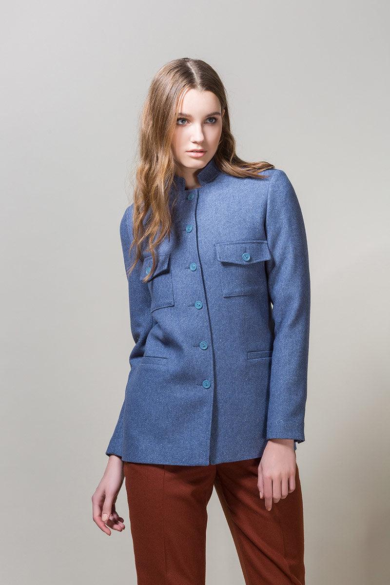 HIND Straight Fit Button Up Belted Jacket - Light Blue