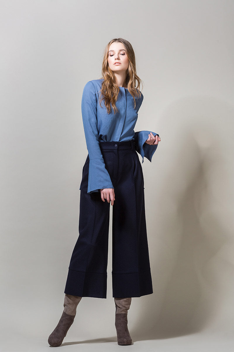 EDIL Woolen Wide Cropped Trousers - Navy