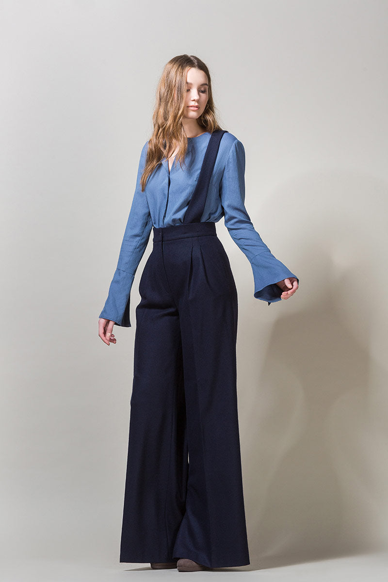 EDEL Wide  Highwaisted Suspender Trousers - Navy