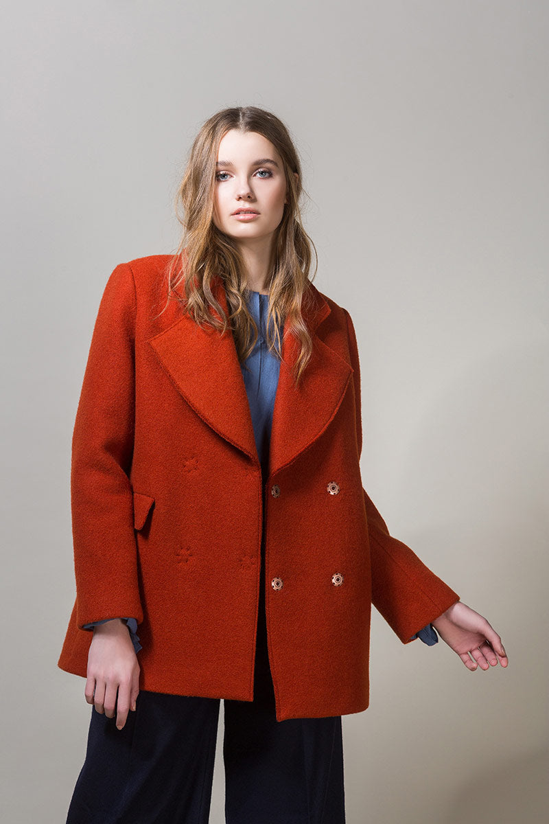 BETSY Heavy Wool Short Coat - Orange
