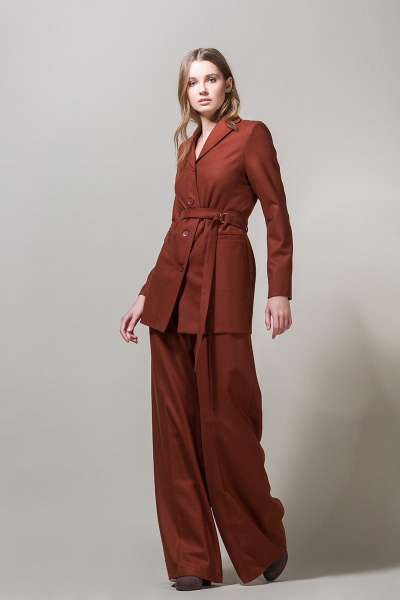 EDEL Highwaisted Suspender Trousers - Brick Brown