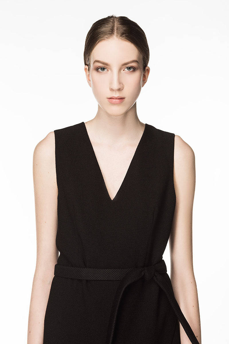 KEIRA Side Slit Belted Dress - Black