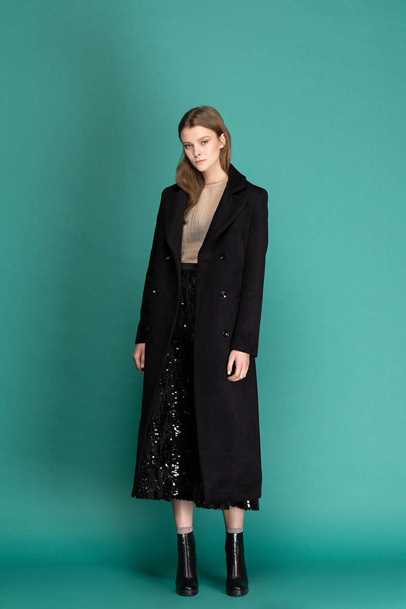 MAGIE Woolen Double Breasted Belted Coat - Black
