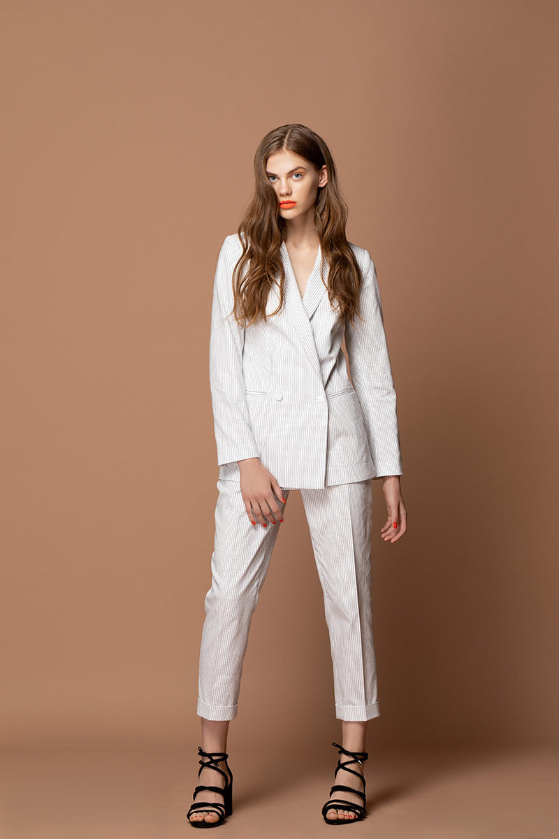 ERIKA Pin Stripe Highwaisted Trousers - White