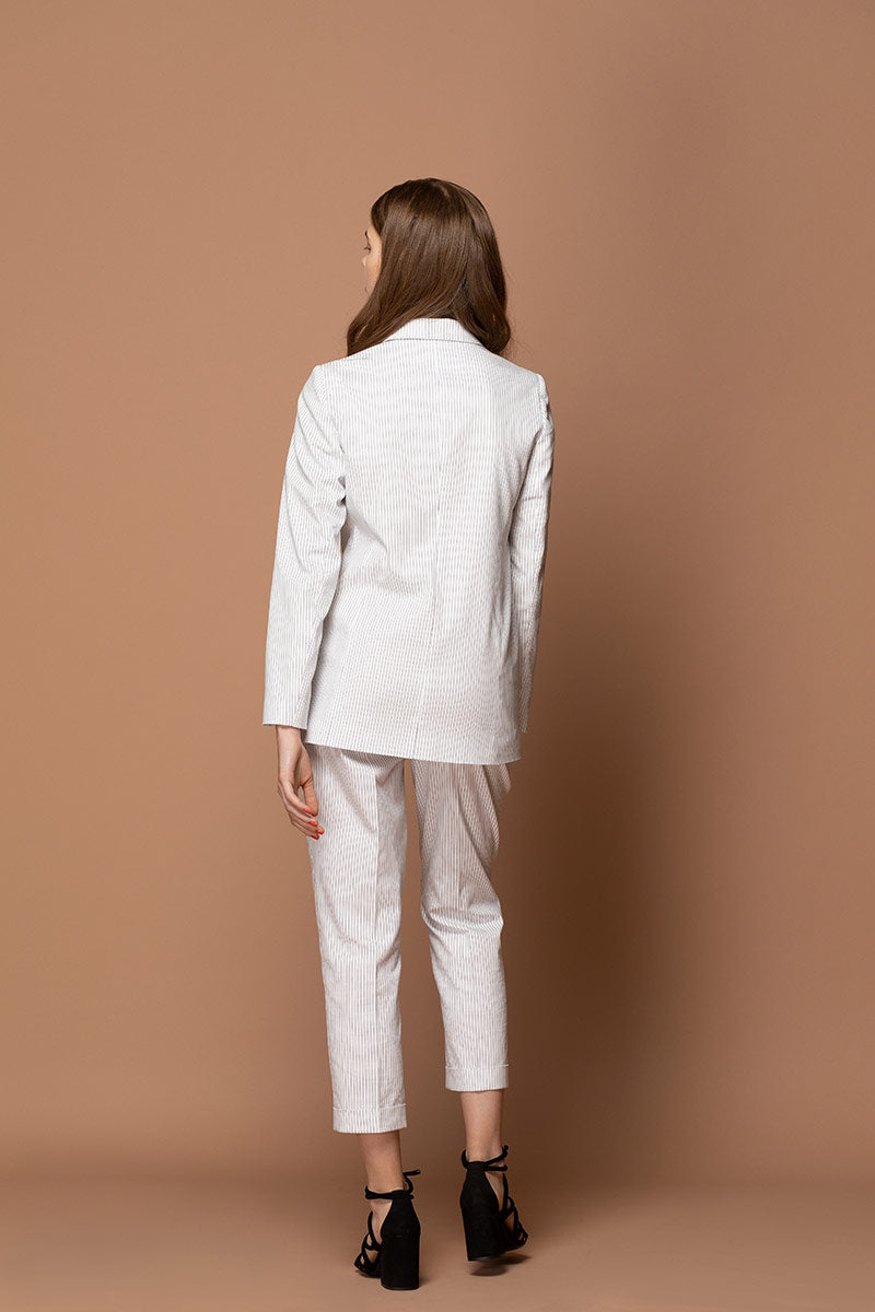 JULIET Straight Pinstriped Blazer - White