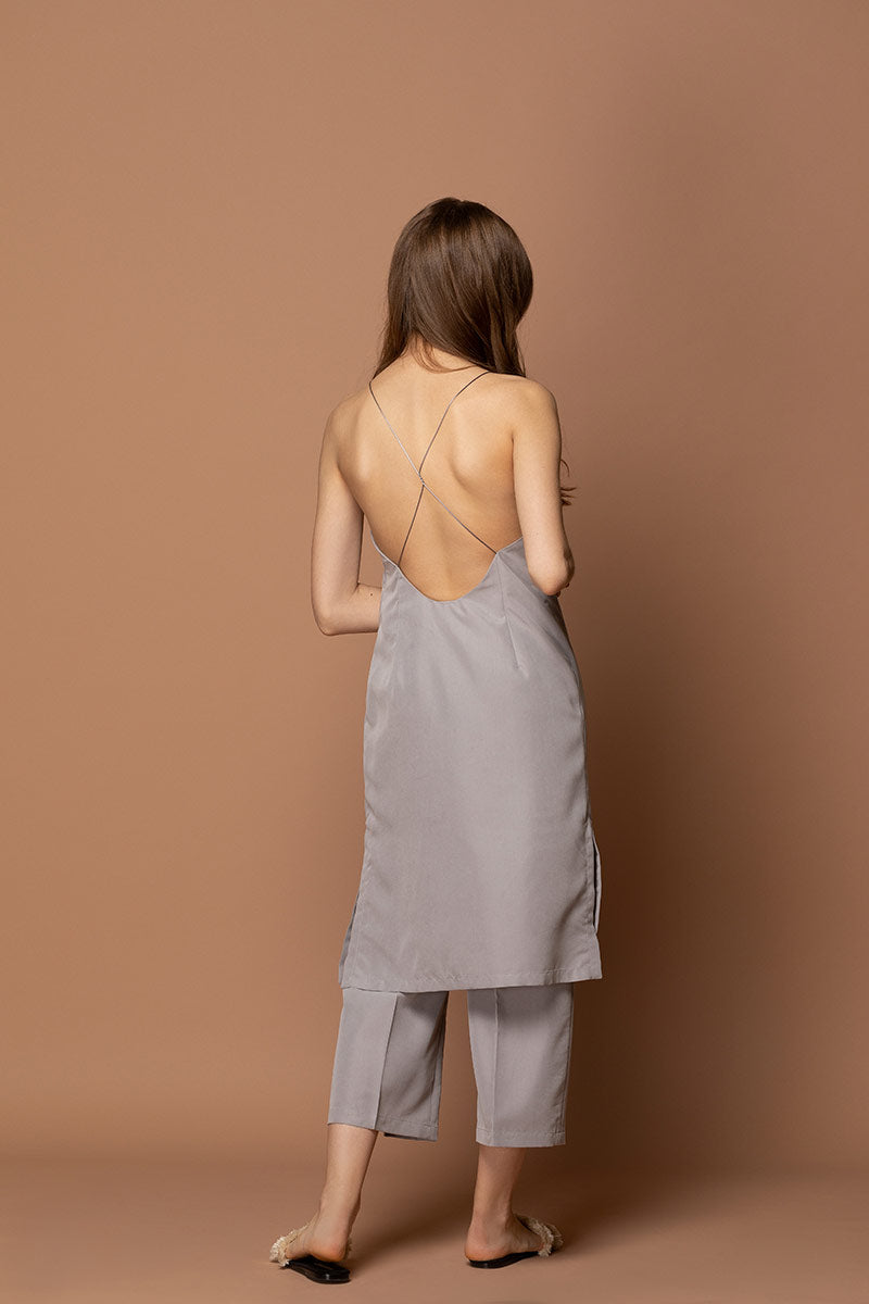 ALEXA Open Back Midi Dress - Grey