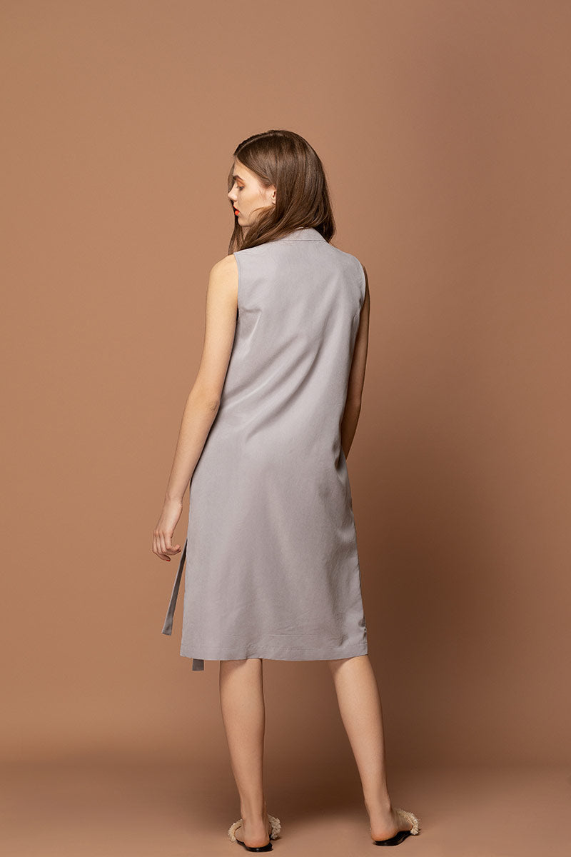 ANNA Belted Modal Midi Dress - Grey