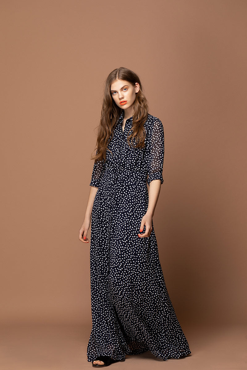 ADRIANA Polka Dots Maxi Dress - Navy Blue