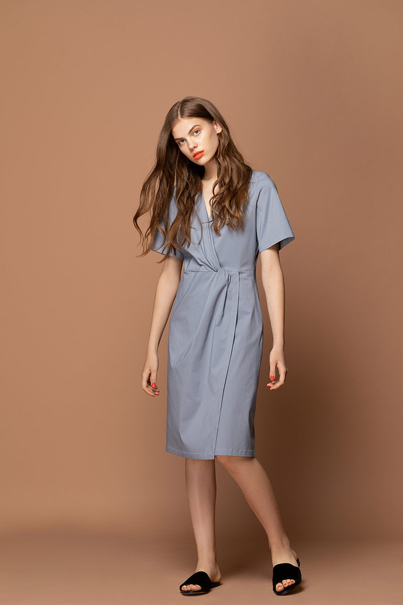 AMANDA Twist Knot Midi Dress - Grey