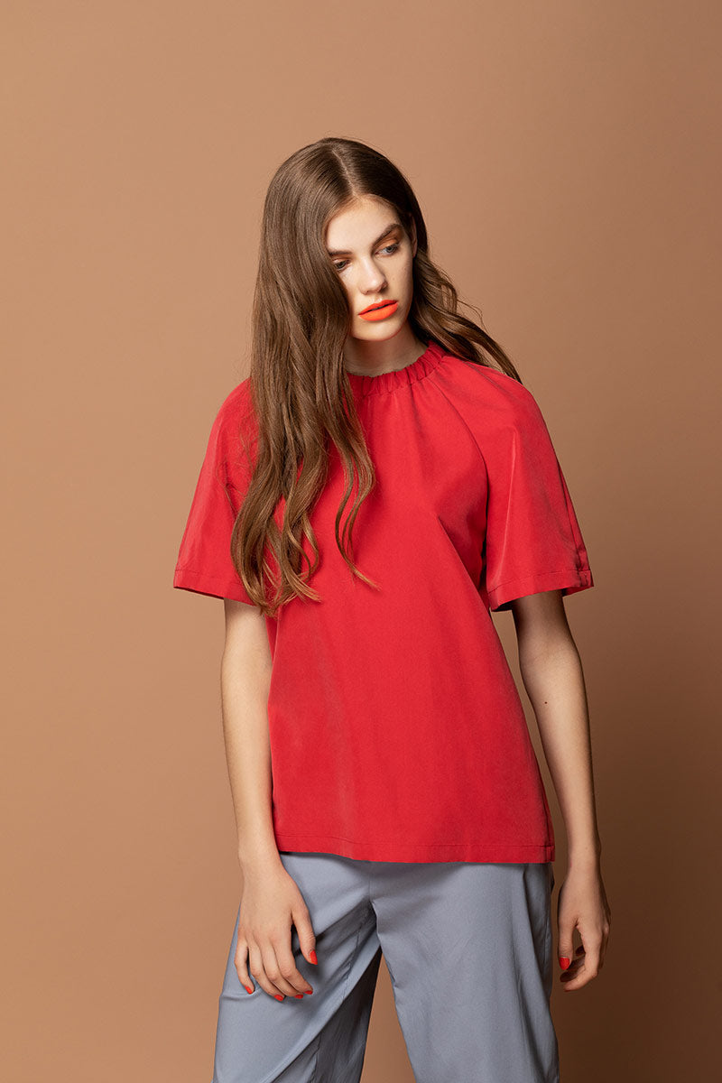 PALOMA Straight Fit Raglan Shirt - Red