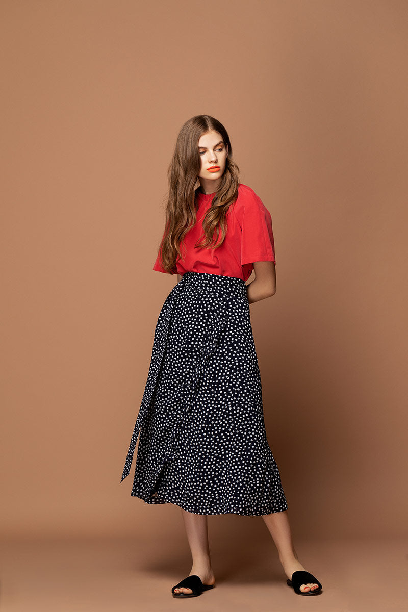 SERENA Polka Dot Wrap Skirt - Black