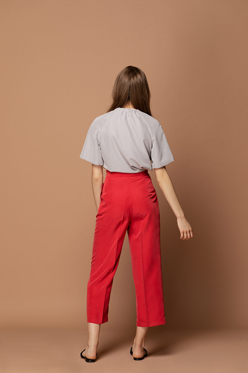 EMMA Highwaisted Cropped Trousers - Red
