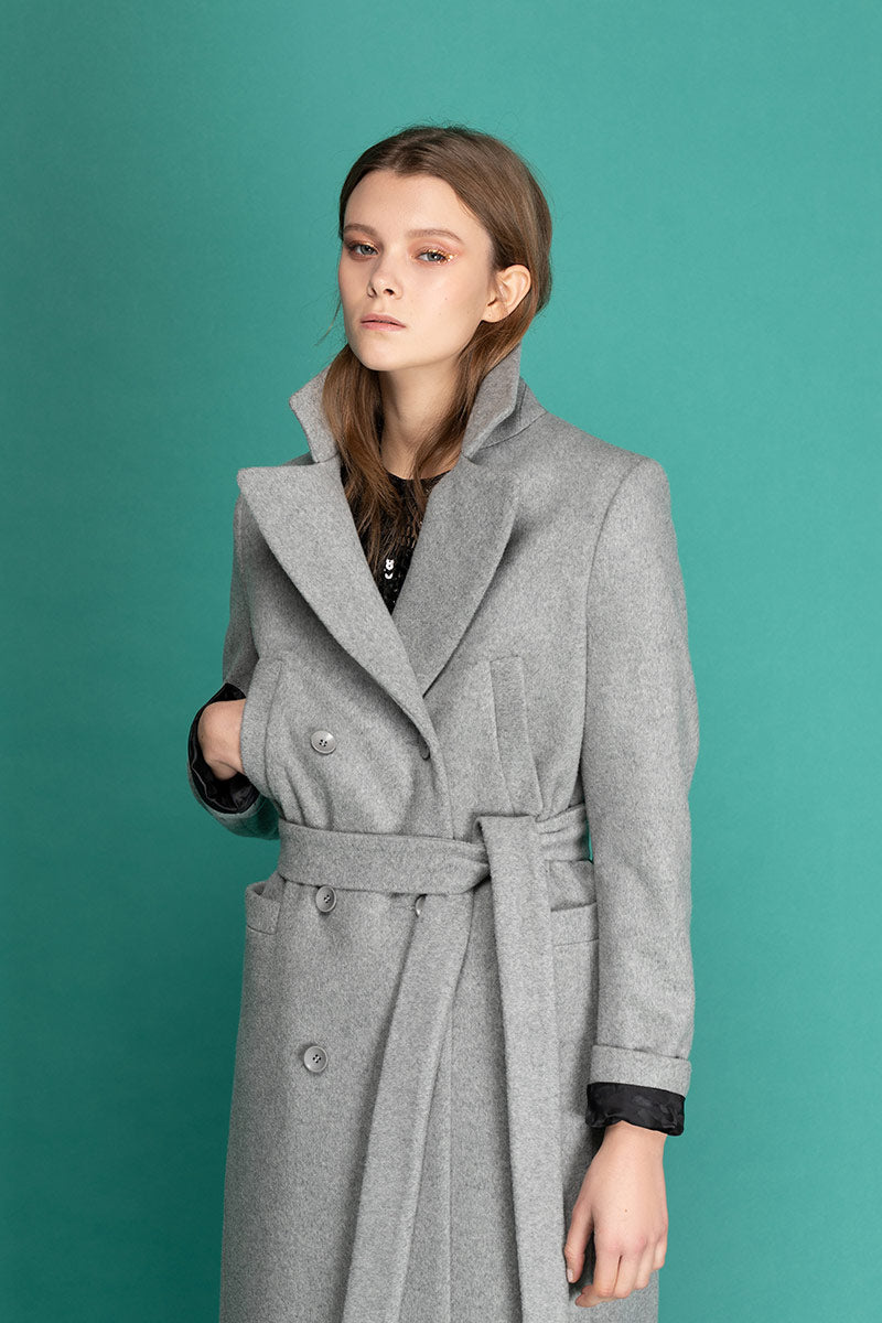 MAGIE Woolen Double Breasted Belted Coat - Grey