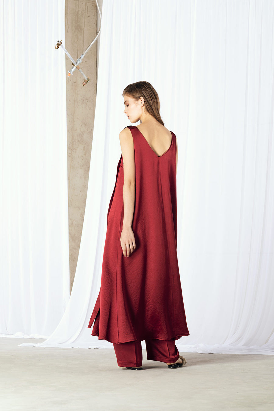 SOFY Viscose Midi Dress - Burgundy