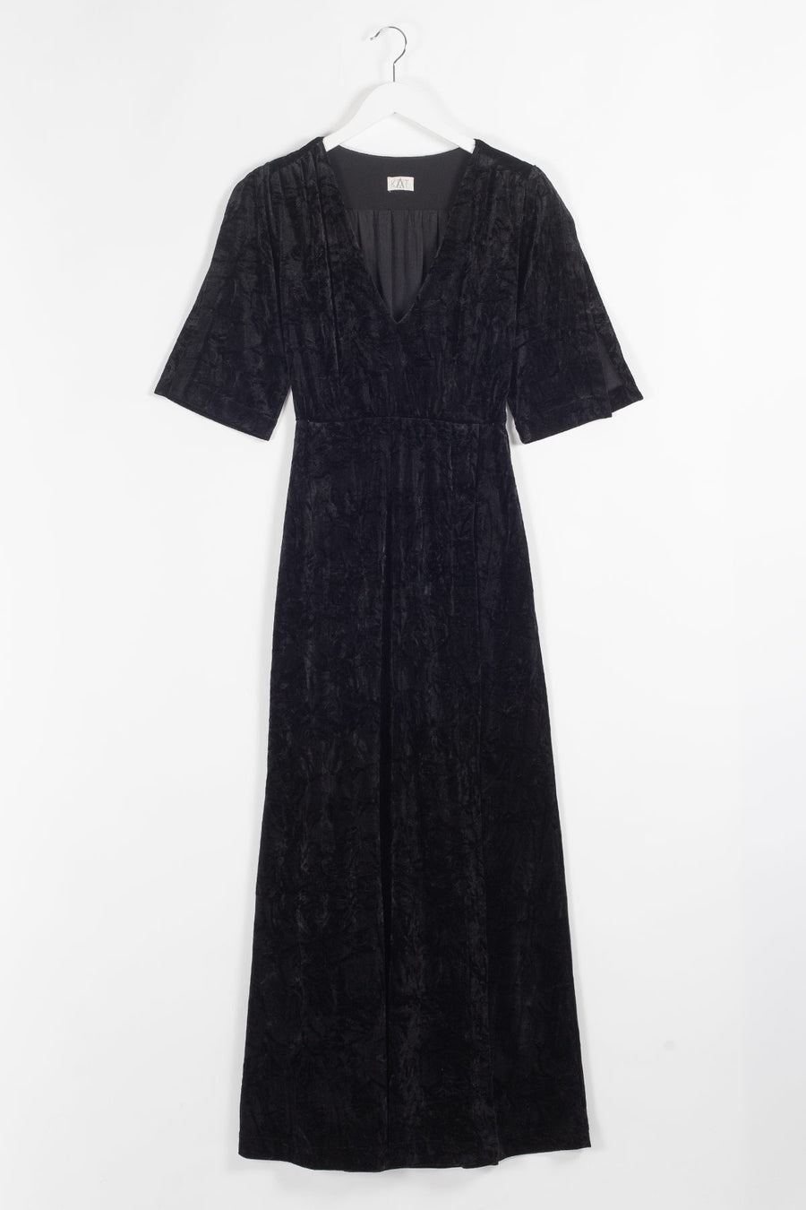ALYSSA Velour Maxi Gala Dress - Black