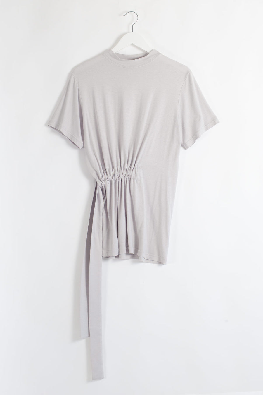 BAMBOO Belted Mock Neck Top - Grey