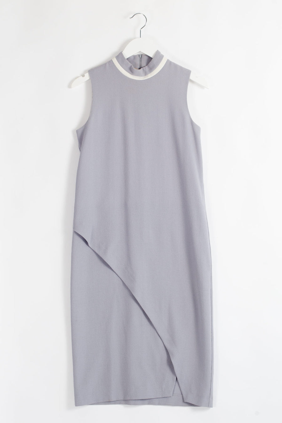 Woolen Side Slit Midi Dress - Grey